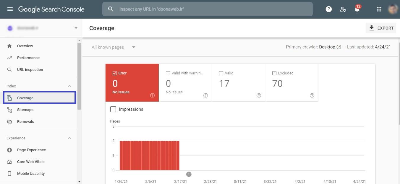 کنسول جست و جوی گوگل برای بررسی کدهای وضعیت HTTP