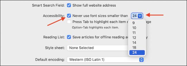 Enable Never Use Fonts Smaller Than Option - نحوه بزرگ کردن خودکار فونت های کوچک مرورگر سافاری در مک