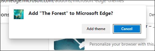 Add Theme Confirmation button in Edge - آموزش نصب و حذف تم ها در مایکروسافت اج