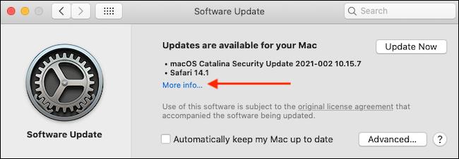 More Info in Software Update - آموزش بروزرسانی مرورگر سافاری در مک