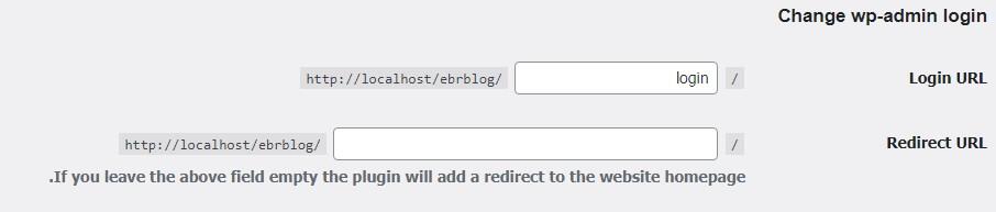 تنظیمات افزونه change wp-admin login