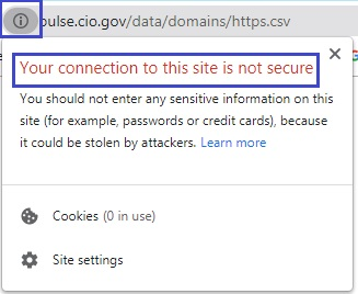 مرورگر توسط یک علامت و یک پیغام خطا نشان می دهد وبسایت مورد نظر امن نیست