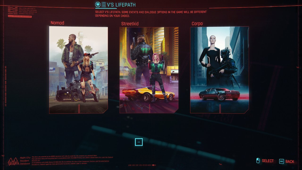 انتخاب مسیر زندگی در بازی سایبرپانک 2077