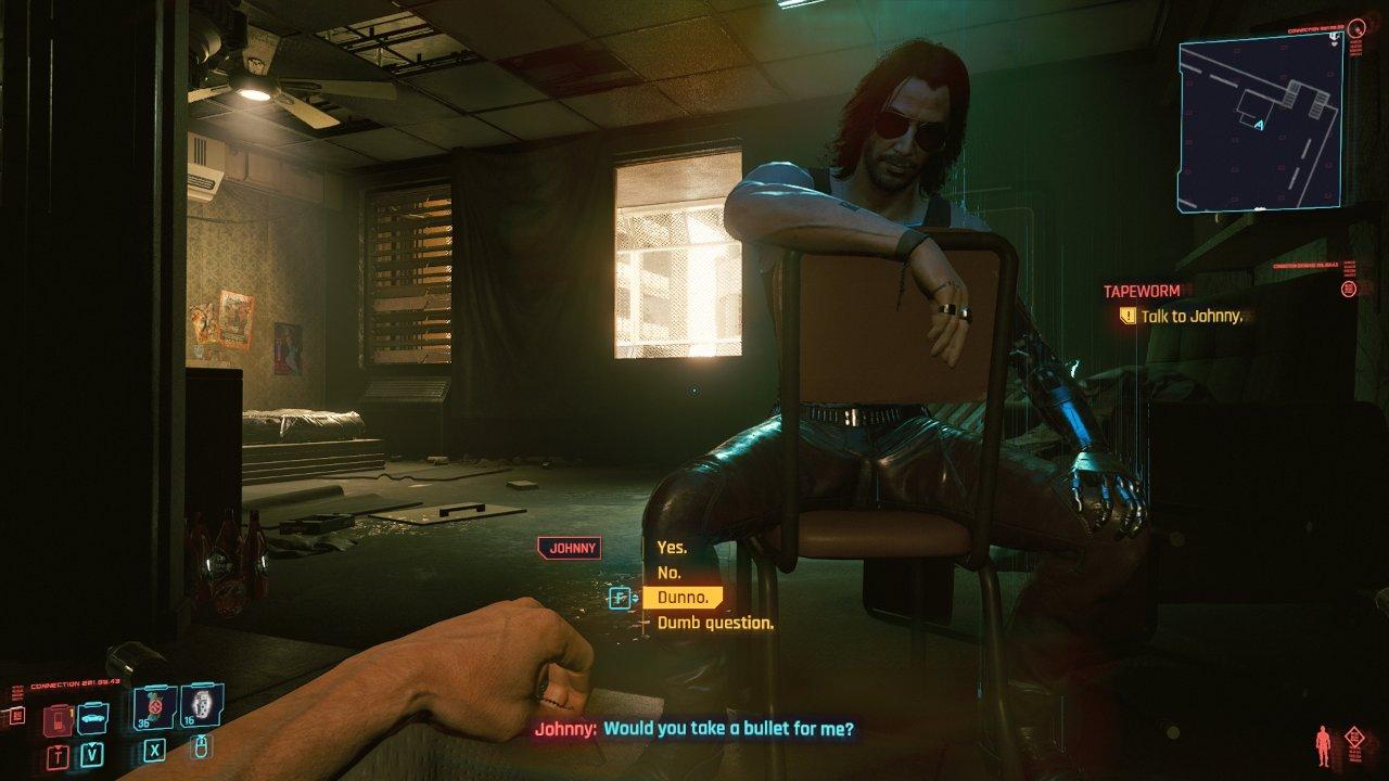 کیانو ریوز در نقش جانی سیلورهند در بازی سایبرپانک 2077
