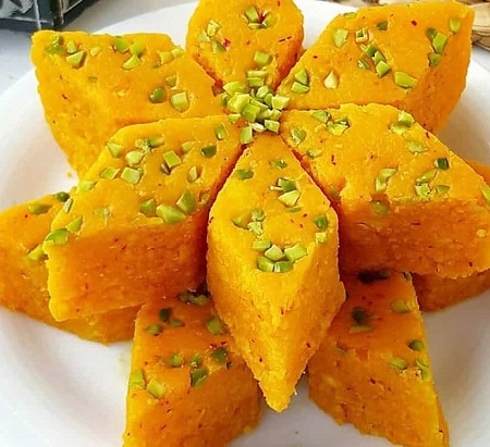 آموزش درست کردن شیرینی روح افزا با آرد سفید و بادام Rohafza sweets
