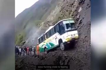 ببینید؛ مهارت حیرتانگیز راننده اتوبوس در کوهستان