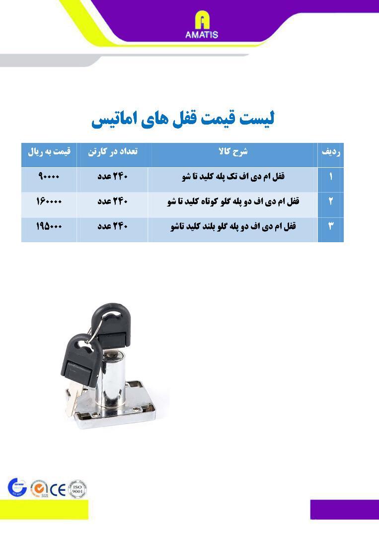 لیست قیمت قفل های آماتیس